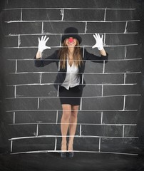 Mime imagining a wall