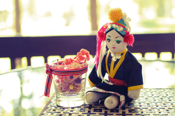 hand made tribe doll - vintage style effect picture