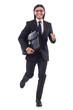 Businessman rushing isolated on the white background