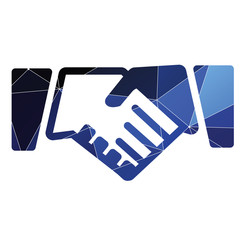 Handshake icon Abstract Triangle background.