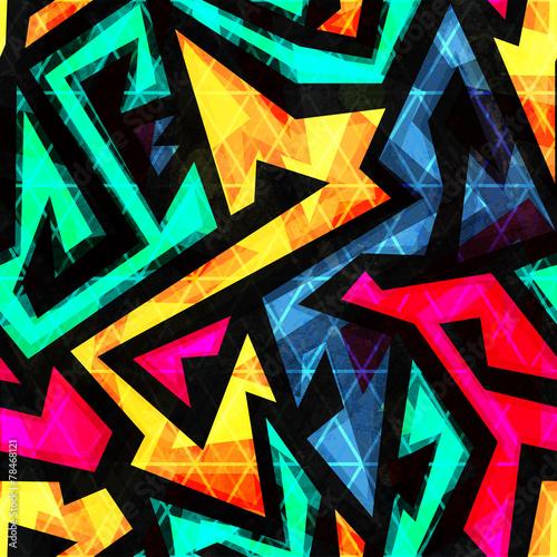 Cotton fabric bright geometric seamless pattern
