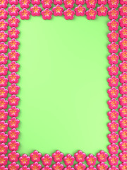 Flower Icons Frame With Green Text Space