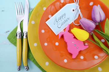 Happy Easter bright color table place setting