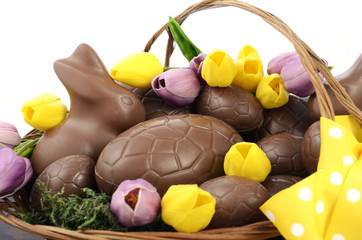 Easter chocolate hamper of eggs and bunny rabbits basket.