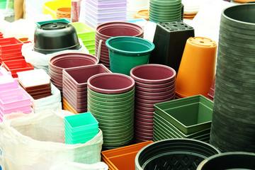 close up flower plastic pot in market