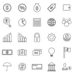 Finance line icons on white background