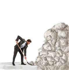 Businessman remove an obstacle