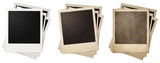 old and new polaroid photo frames stacks isolated - 78470137