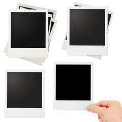 Various polaroid photo frames set isolated