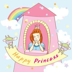 Happy Princess on tower with angels holding ribbon