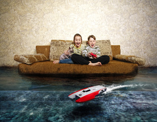 Young boy and girl with radio control. Playing with RC boat