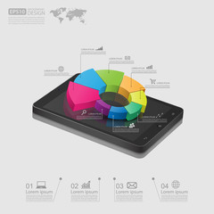 smartphone with business graph.vector