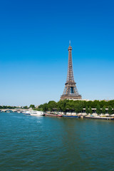 Eiffel tower on bright summer day