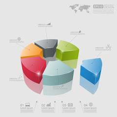 3d pie chart graph. vector illustration.