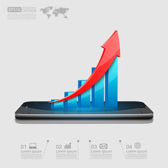 Business graph on smartphone,vector