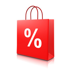 Red Shopping Bag with Percent Sign