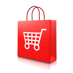 Red Shopping Bag with Cart