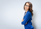Happy smiling businesswoman in glasses