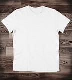 Fototapety White t-shirt on wood background