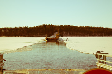 Ferry on the lake in winter
