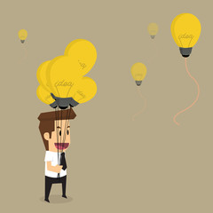 businessman with idea bulb balloon