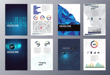 set of abstract geometric modern style infographic  brochure tem