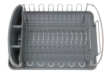 Aluminum dish rack shelf with a gray tray for drying kitchenware