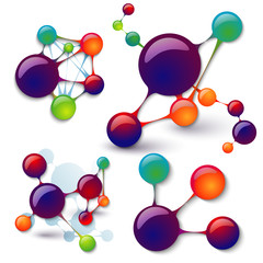 set of models of molecules infographics