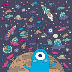 spaceship monster pattern design