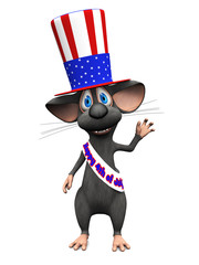 Smiling cartoon mouse celebrating 4th of July or Independence Da