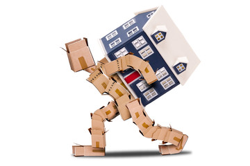 Moving house concept with box man