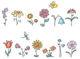 Cartoon flowers of different kinds