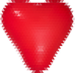 bright red heart from triangles on white