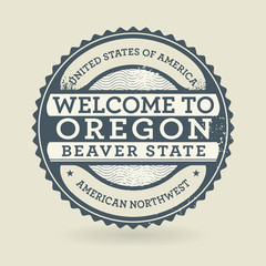 Grunge rubber stamp with text Welcome to Oregon, USA