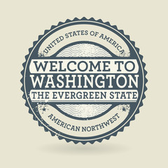 Grunge rubber stamp with text Welcome to Washington, USA