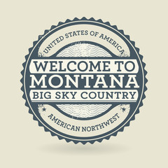 Grunge rubber stamp with text Welcome to Montana, USA