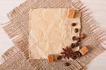 paper and old cloth fabric, paper menus and spices