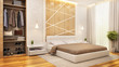 Modern bedroom with wardrobe in a big house