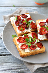 Toasts with cheese and tomatoes