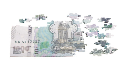 unfinished puzzle from one thousand Russian rouble