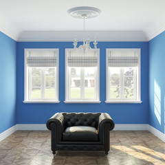 Empty blue painted walls room interior with black armchair