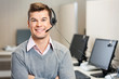 Leinwanddruck Bild - Customer Service Representative With Headset In Call Center
