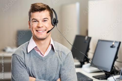 Leinwanddruck Bild Customer Service Representative With Headset In Call Center