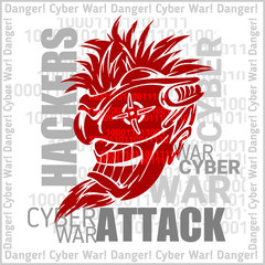Hackers Attack - cyber war, sign on digital binary background.
