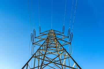 High voltage pylon seen from below
