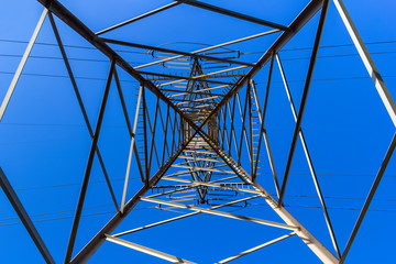 High voltage pylon seen from below