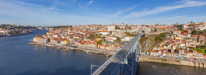 View of the iconic Dom Luis I bridge in Porto, Portugal