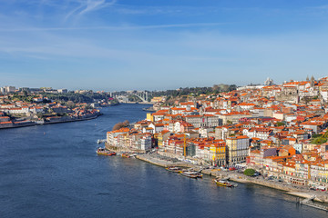 View of the historical Ribeira District of Porto, Portugal