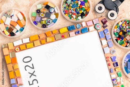 Fototapeta Photo frame with colorful glass mosaic tiles