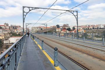 Subway railway tracks on the Dom Luis I bridge